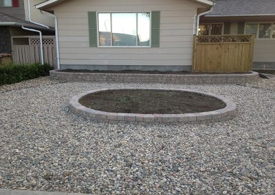 zero-scaping and central flowerbed