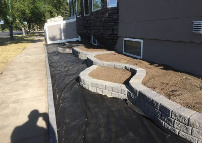 two-tiered flowerbed in progress