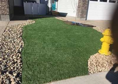 new sod and rock accents